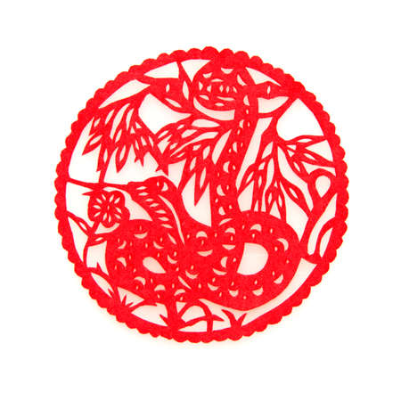 year of the snake: Chinese zodiac paper-cut: snake