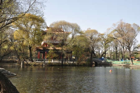 Chinese building in a park
