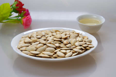 A plate of pumpkin seeds
