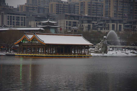 xi 'an QuJiangChi at south lake park, a famous landmark and landscape scenic spots.