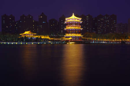 Xi an datang furong garden at night, is located in Chinas shaanxi province. The famous tourist scenic spot.