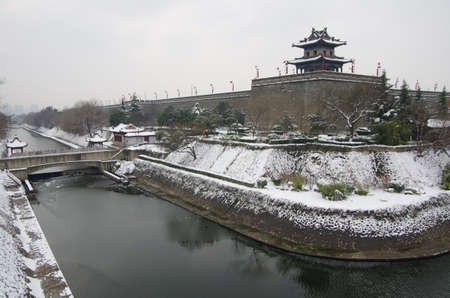 Snow day in xi 'an city wall, which is a world famous scenic spots of ancient buildings. Building has a history of more than 600 years.