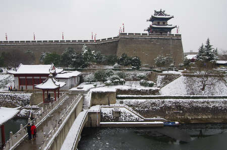 xi an  snow scene of ancient city wall
