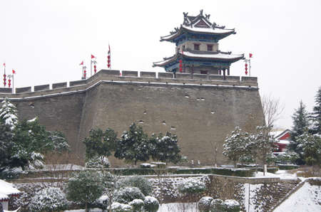 xi 'an  snow scene of ancient city wall