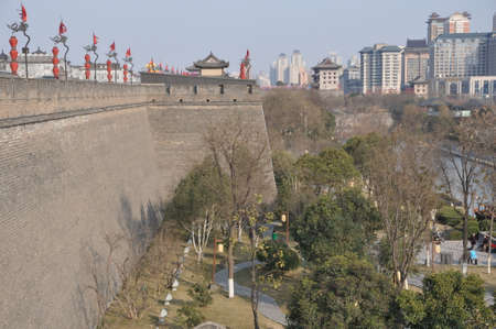 Xi an city wall is a famous ancient architectural tourist attraction. 新聞圖片