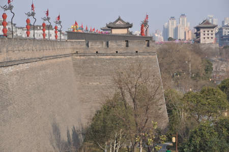 Xi an city wall is a famous ancient architectural tourist attraction. 版權商用圖片
