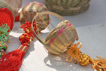 Bamboo basket, a kind of handicraft. 版權商用圖片