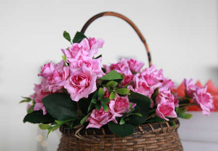 Bamboo baskets and flowers.