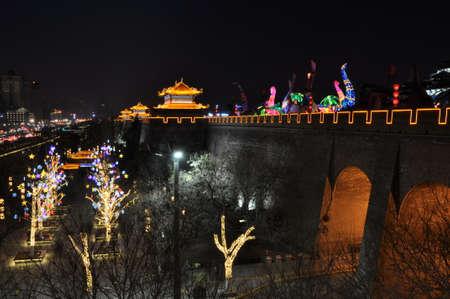 Lantern decoration and Chinese city wall at night
