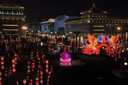 Outdoor lantern decoration at night Editorial