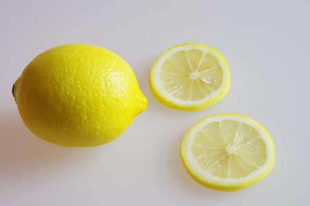 Lemon on a plain surface