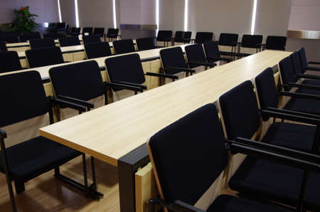 Classroom with tables and seats Editorial