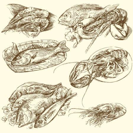Meeresfrüchte, Fisch-Sammlung