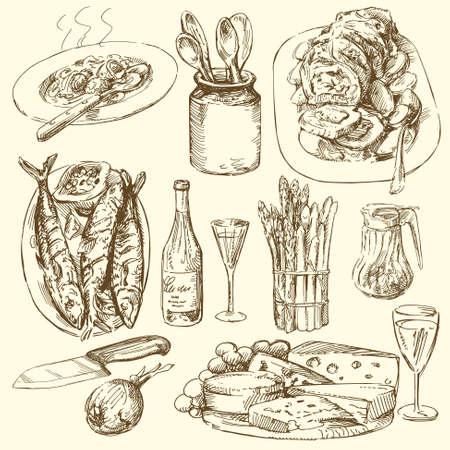 voedsel verzamelen Vector Illustratie