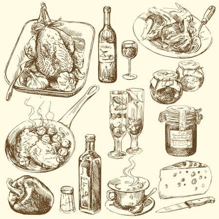 viande couteau: collecte de denr�es alimentaires Illustration