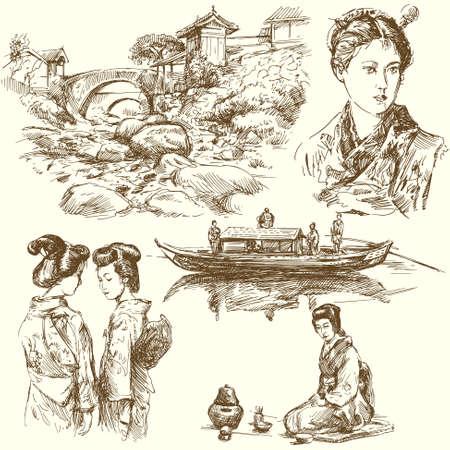 Japanese kimono girl: japan - tay bộ sưu tập vẽ
