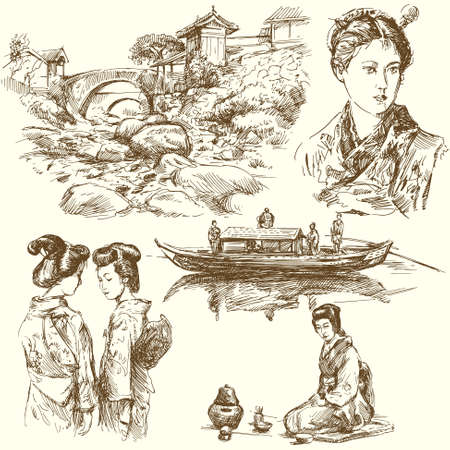 japanese garden: japan - hand drawn collection