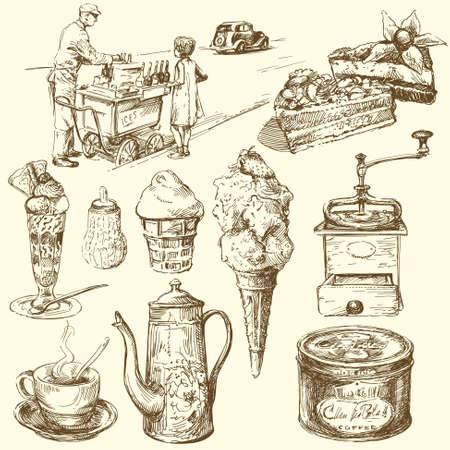 cream tea: coffee, ice cream, confectionery - hand drawn collection Illustration
