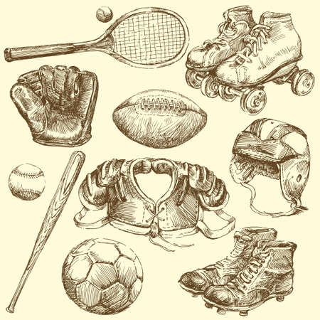 vintage sports equipment Vector