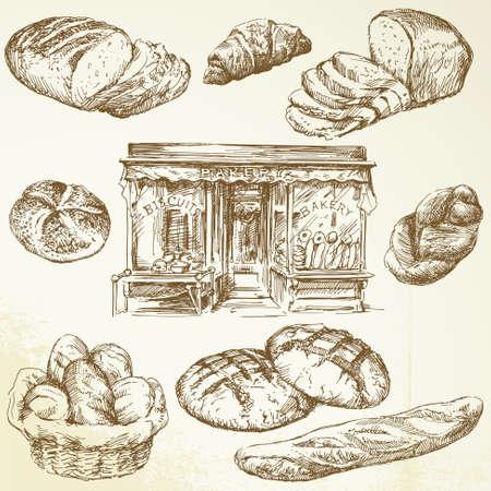 comiendo pan: el pan, de harina - colecci�n de dibujado a mano Vectores