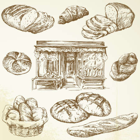 bread shop: pane, prodotti da forno - collezione disegnata a mano Vettoriali