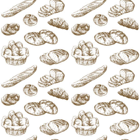 bread roll: bread - seamless pattern