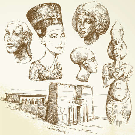 excavation: ancient egypt - hand drawn collection