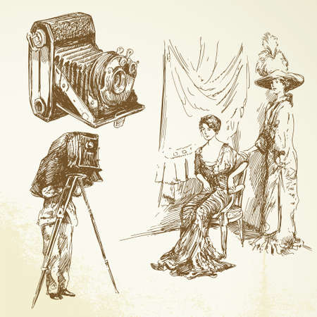 old time, vintage camera, pretty women Vector