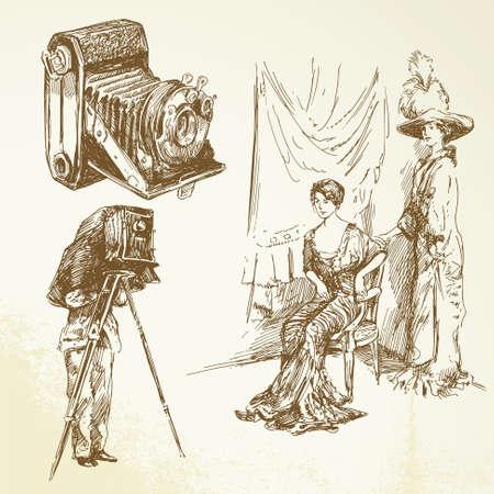 fotografi: vecchi tempi, macchina fotografica vintage, belle donne
