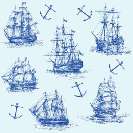 brig ship: nautical set