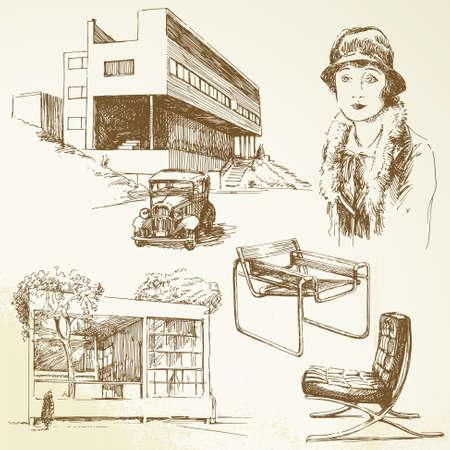 architect drawing: modern architecture - hand drawn set