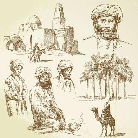kopftuch: Orient - handgezeichnete Set