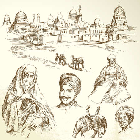 turkish man: orient - hand drawn set