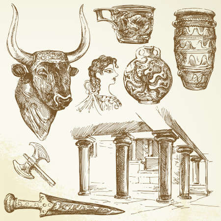 greek column: ancient crete - hand drawn set