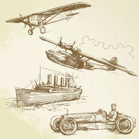 old vehicles - airplanes, ship, racing car