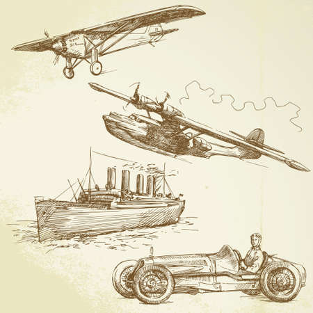 old vehicles - airplanes, ship, racing car Vector