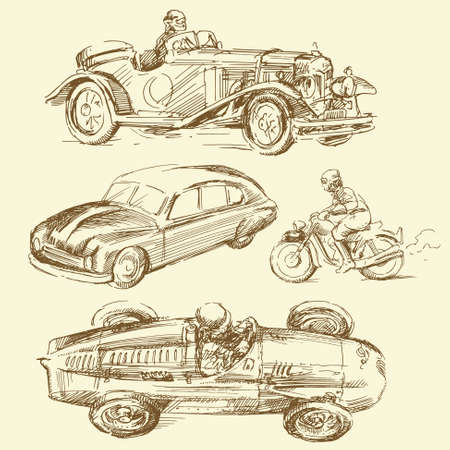 vehicle track: old times - hand drawn collection Illustration