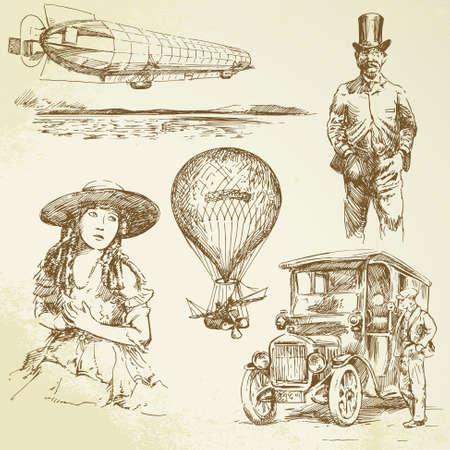 ballon dirigeable: bon vieux temps - dessin�s � la main la collecte
