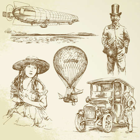 airship: old times - hand drawn collection Illustration