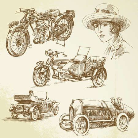 car drawing: vintage vehicles - hand drawn set