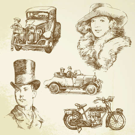 old fashioned car: old times - hand drawn set Illustration