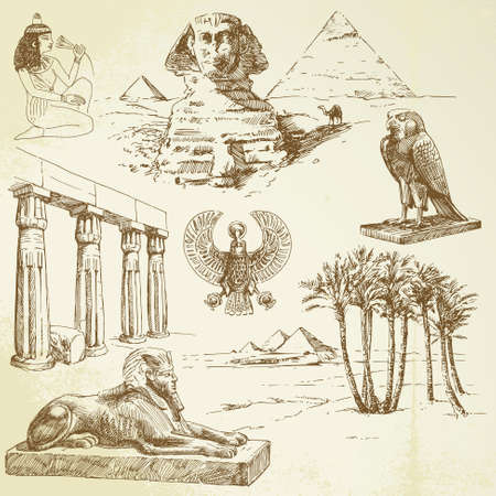 egyptian: ancient egypt - hand drawn set