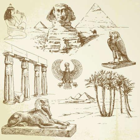 esfinge: Antiguo Egipto - dibujado a mano conjunto Vectores