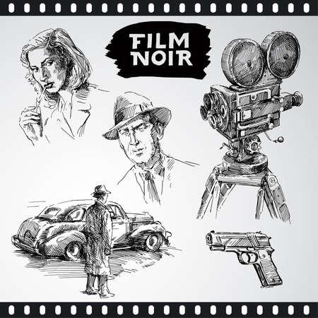 suspenso: cine negro - colección vintage Vectores