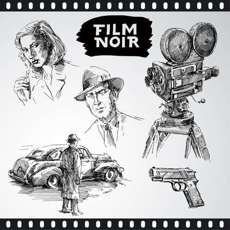 film noir - vintage collection  Vector