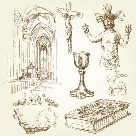 christian candle: christian religion symbols  Illustration