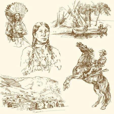 wild wild west: Wild West - collezione disegnata a mano Vettoriali