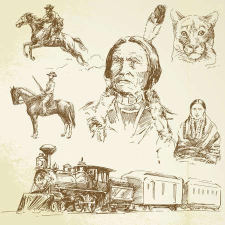 oeste: Wild West - dibujado a mano conjunto Vectores