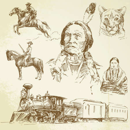 native american man: Wild West - disegnata a mano set