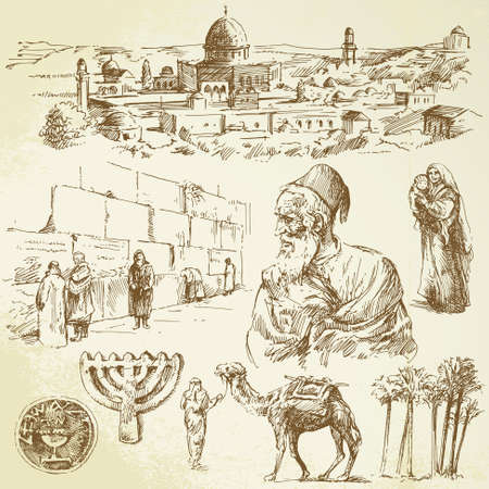 rabbi: jerusalem - hand drawn set Illustration